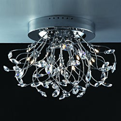 Joshua Marshal Home Collection Modern 15-light Chrome Crystal Encompassed Flush Mount Ceiling Fixture