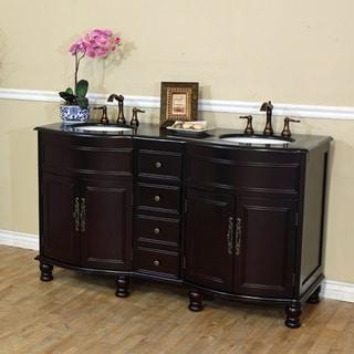 Double Sink Wood Vanity with Black Galaxy Granite Top