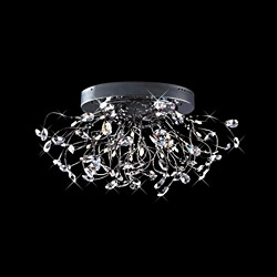 Joshua Marshal Home Collection Modern 28-light Chrome Crystal Encompassed Flush Mount Ceiling Fixture