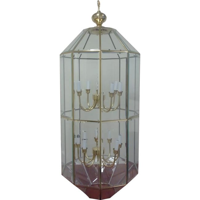Sixteen Light Two Tier Polished Brass Pendant