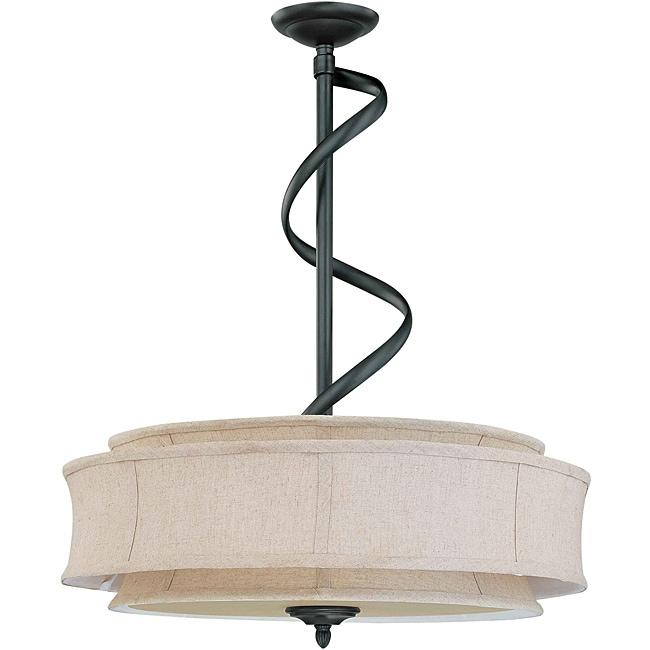 Darwin Bronze and Natural Linen 3-Light Pendant