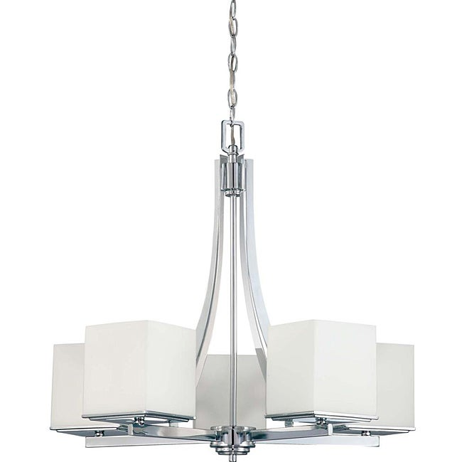 Bento Chrome with Satin White 5-light Chandelier