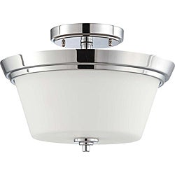 Bento Chrome with Satin White Two-Light Semi-Flush Indoor Fixture