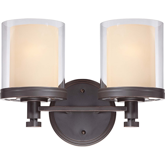 Bathroom Vanity Lights Overstock : Decker Bronze with Clear/ Cream 2-light Vanity Fixture