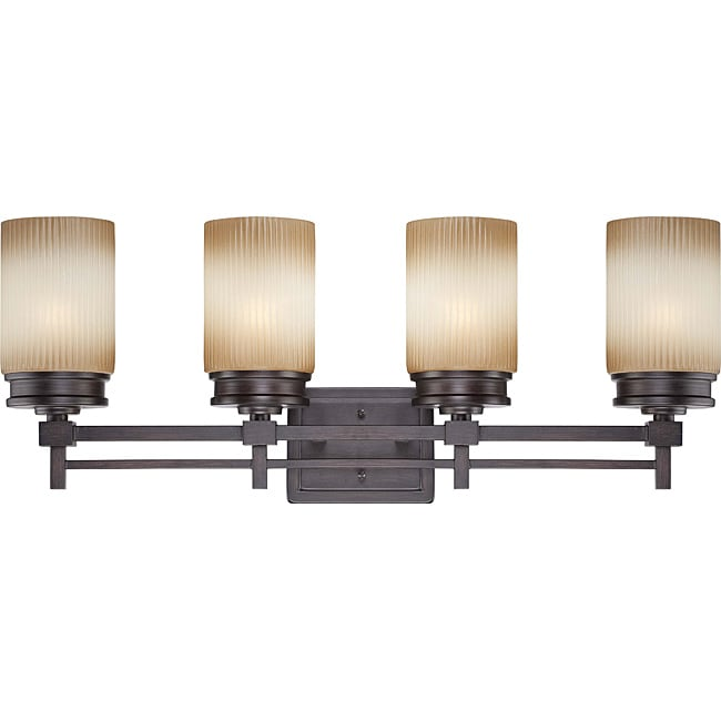 Wright Bronze with Amaretto Glass 4-light Vanity Fixture