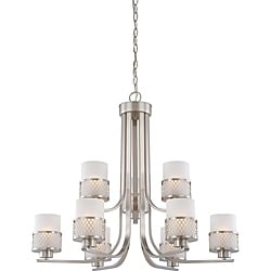 Fusion 9-Light Chandelier Nickel w/ Frosted Glass