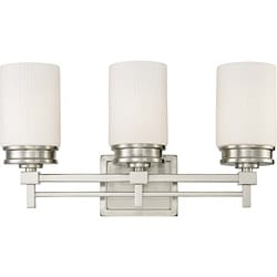 Wright Nickel w/ Satin White Glass 3-Light Vanity Fixture