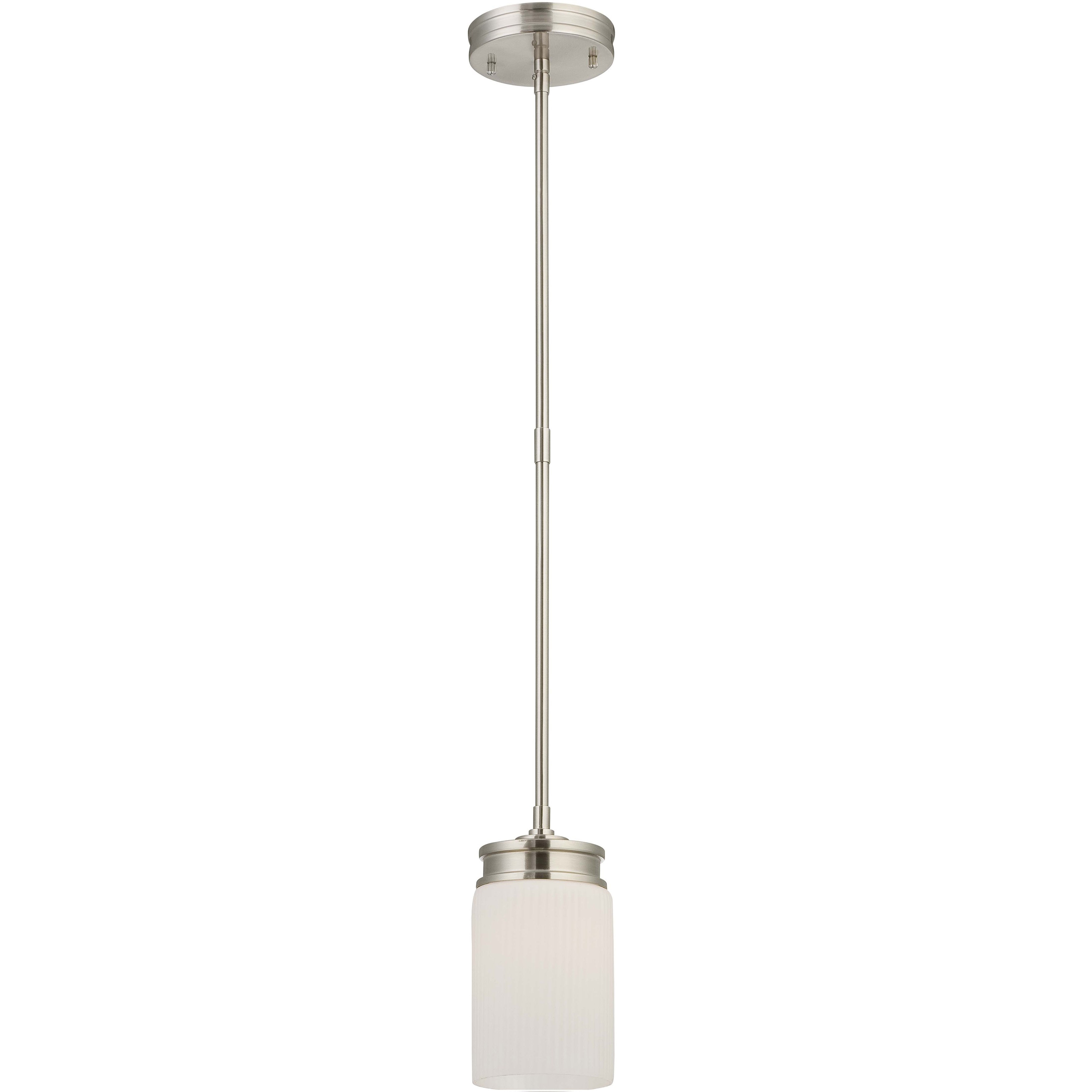 Wright Nickel and Satin White Glass 1-Light Mini Pendant