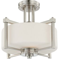 Wright Nickel and Satin White Glass 2-Light Semi Flush Fixture