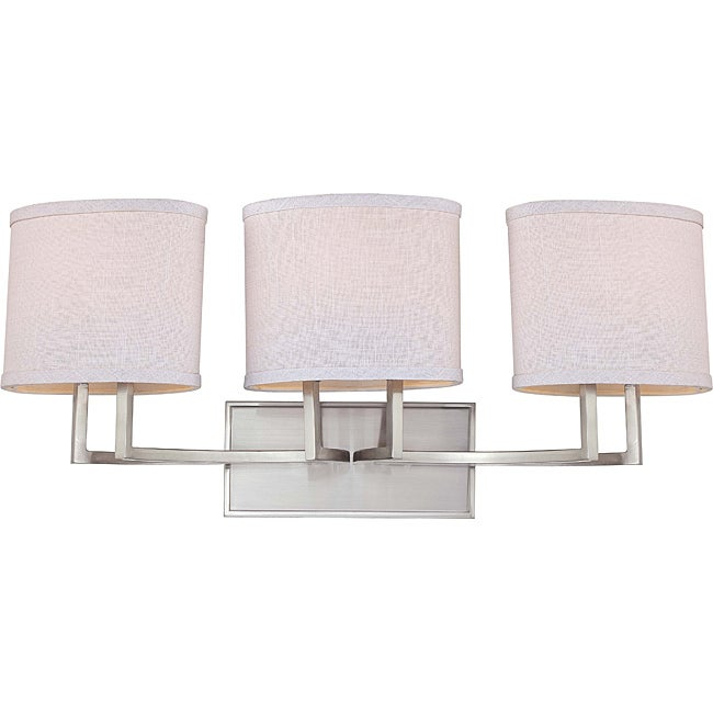 Gemini Nickel and Slate Gray Fabric Shades 3-Light Vanity Fixture - 14496613 - Overstock.com ...