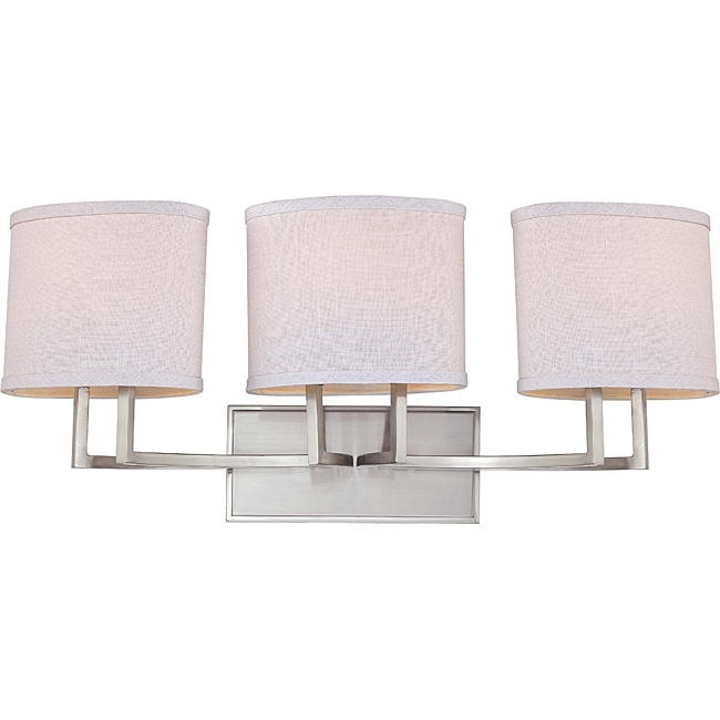 Vanity Light Fabric Shade : Gemini Nickel and Slate Gray Fabric Shades 3-Light Vanity Fixture - 14496613 - Overstock.com ...
