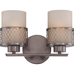 Fusion Bronze w/ Russet Glass 2-Light Vanity Fixture