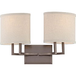 Gemin Bronze and Khaki Fabric Shadesi 2-Light Vanity Fixture