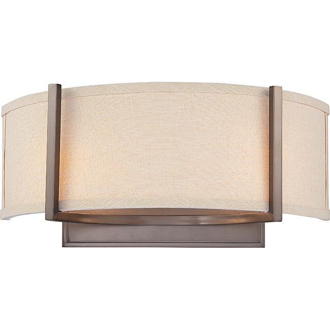 Gemini Bronze and Khaki Fabric Shade 2-Light Wall Sconce