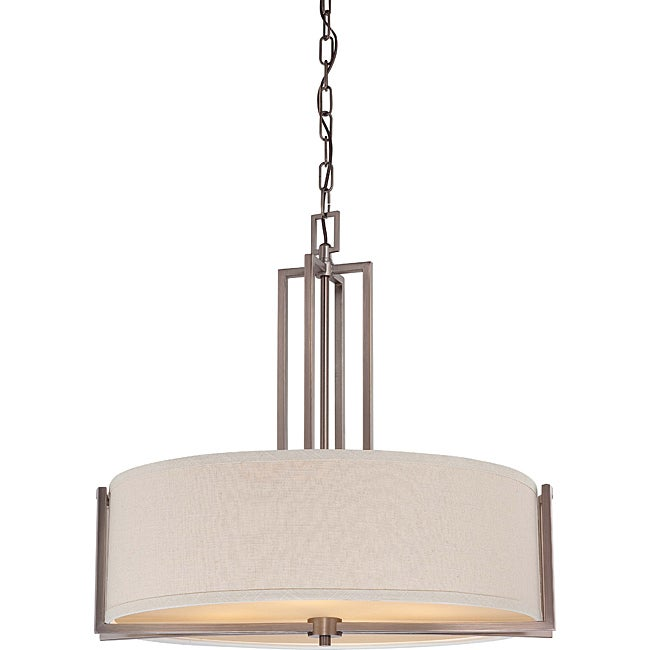 Gemini Bronze and Khaki Fabric Shade 4-Light Pendant