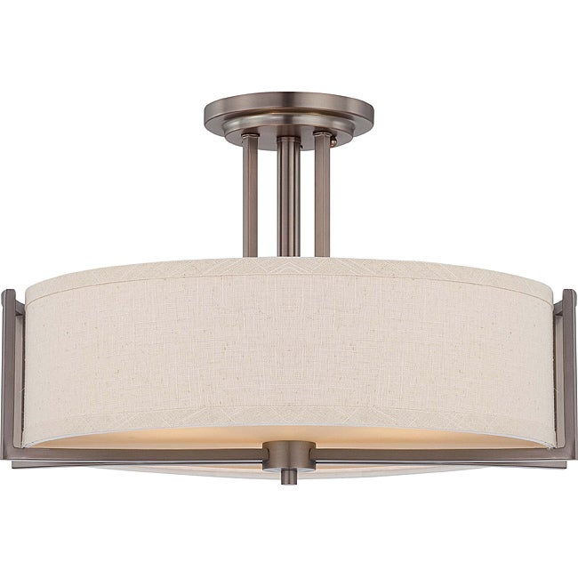Gemini Bronze and Khaki Fabric Shade 3-Light Semi Flush Fixture