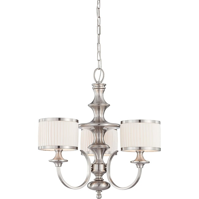 Candice Nickel and Flat Pleated White Shades 3-Light Chandelier