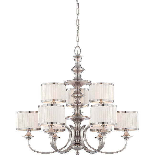 Candice Nickel and Flat Pleated White Shades 9-Light Chandelier