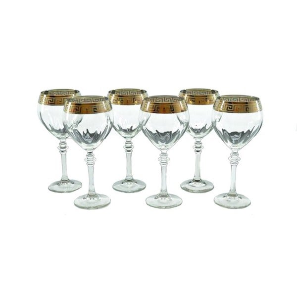 Italian Wine Glass with Gold Rim (Set of 6)