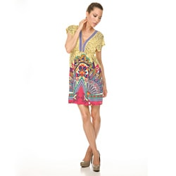 Women's White Mark 'Milano' Yellow/Pink Peacock Sundress