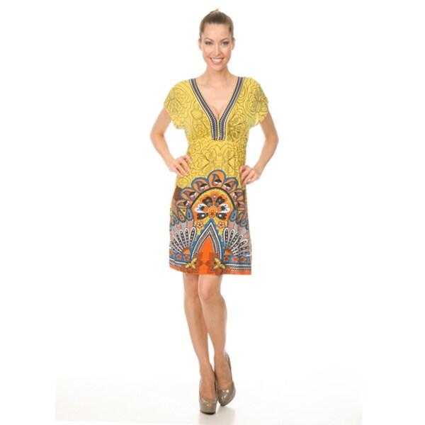 Women's White Mark 'Milano' Yellow/Orange Peacock Sundress