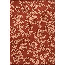Mantua Russet Floral Indoor/Outdoor Rug (5'3 x 7'6)