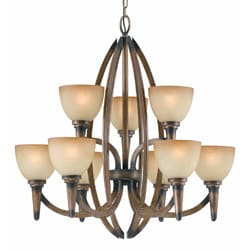 Olympian 9-light Torch Bronze Chandelier