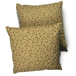 Vine Brick Embroidered Tan Background 18-inch Pillow (Set of 2)
