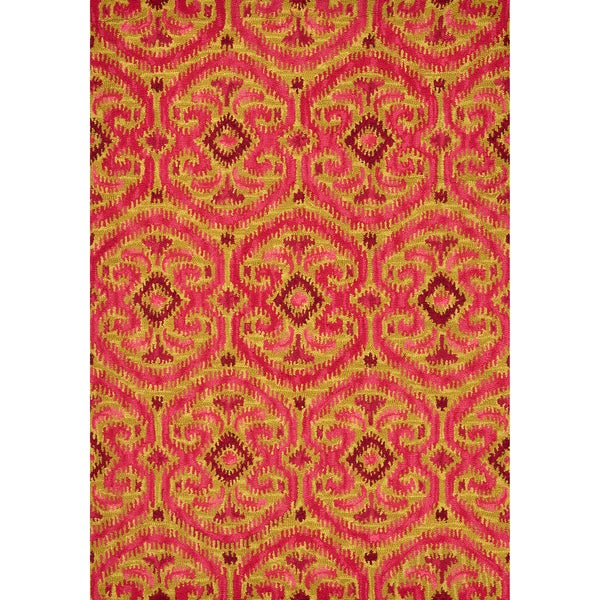 Hand-tufted Montague Gold/ Berry Wool Rug (2'6 x 7'6)