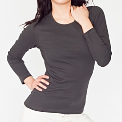 American Apparel Women's Baby Rib Long Sleeve Scoop Neck T