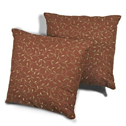 Vine Tan Embroidered with Brick Background 18-inch Pillows (Set of 2)