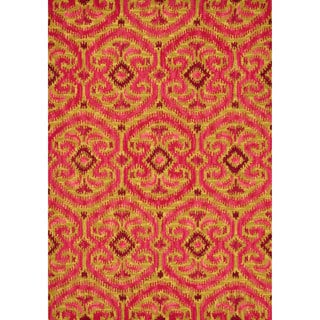 Hand-tufted Montague Gold/ Berry Wool Rug (7'10 x 11)