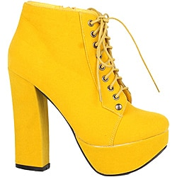 Modesta by Beston Women's 'Tomo-01' Yellow Lace-up Booties