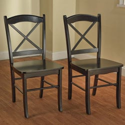 Country Cottage Black Dining Chairs (Set of 2)