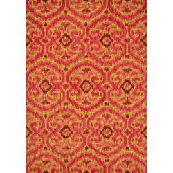 Montague Gold/ Berry Wool Rug (5'0 x 7'6)