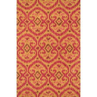 Hand-tufted Montague Gold/ Berry Wool Rug (5' x 7'6)