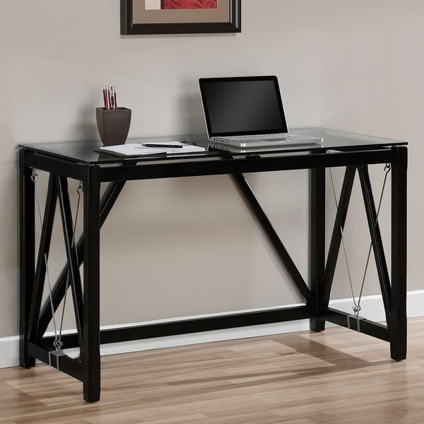 contemporary black cable accent desk overstock shopping great