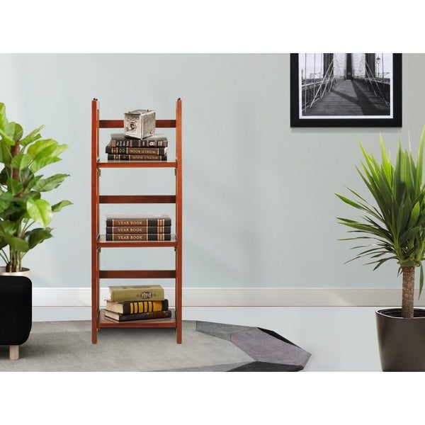 Folding Stackable 3-shelf Wood Bookcase
