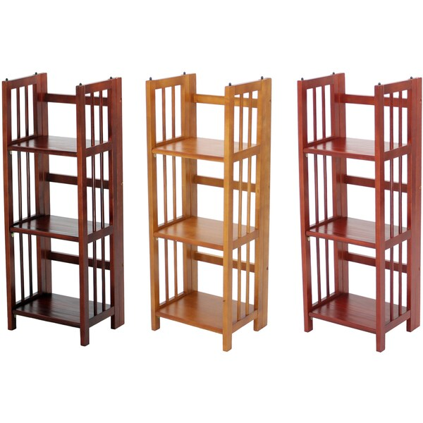 Folding wooden shelf
