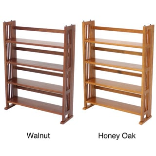 Four Shelf Folding Wood Media Stand