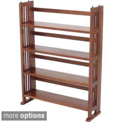 Four Shelf Folding Wood Media Stand