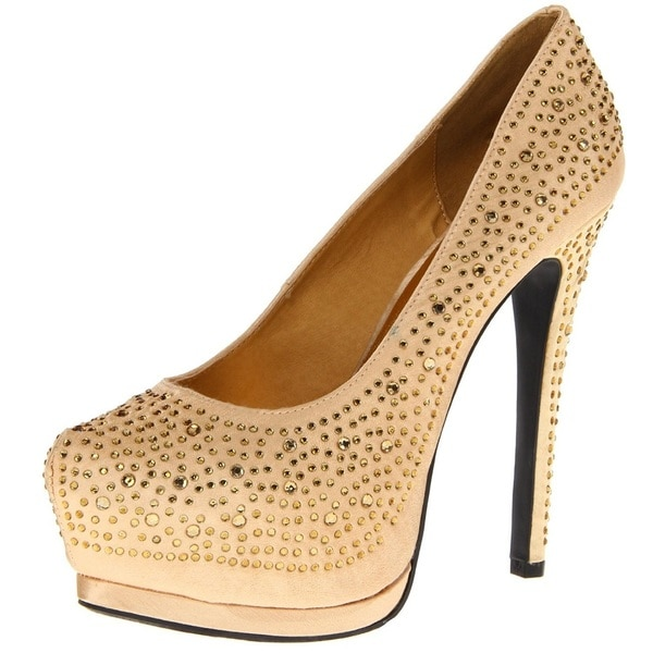 Toi et Moi Women's Toi et Moi 'Daisy-05' Gold Satin Jewel Pointed Toe Platform Pumps