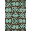 Montague Chocolate/ Teal Wool Rug (2'6 x 7'6)
