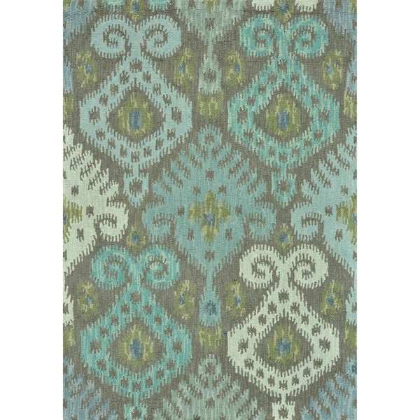Hand-tufted Montague Grey/ Mist Wool Rug (7'10 x 11)
