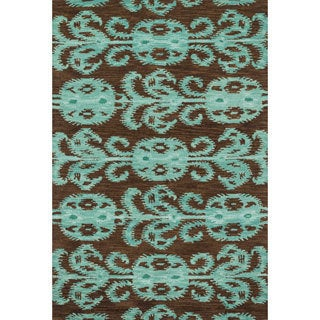 Montague Chocolate/ Teal Wool Rug (7'10 x 11)
