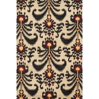 Hand-tufted Montague Beige/ Black Wool Rug (3'6 x 5'6)
