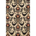 Montague Beige/ Black Wool Rug (3'6 x 5'6)
