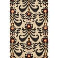Montague Beige/ Black Wool Rug (5'0 x 7'6)