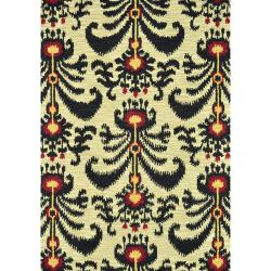 Montague Beige/ Black Wool Rug (2'6 x 7'6)