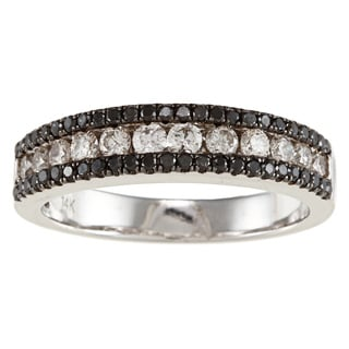 14k White Gold 3/4ct TDW Black and White Diamond Band (I-J, I1-I2)